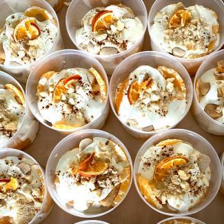 Trifle met clementines, yoghurt en mascarpone